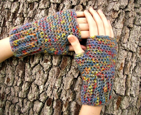 Crocheted Fingerless Gloves Mittens - Grey Fingerless Gloves Grey Rainbows - Grey Gloves Grey Mittens Womens Accessories Fall Fashion
