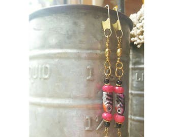 Pink and black fishing lure earrings