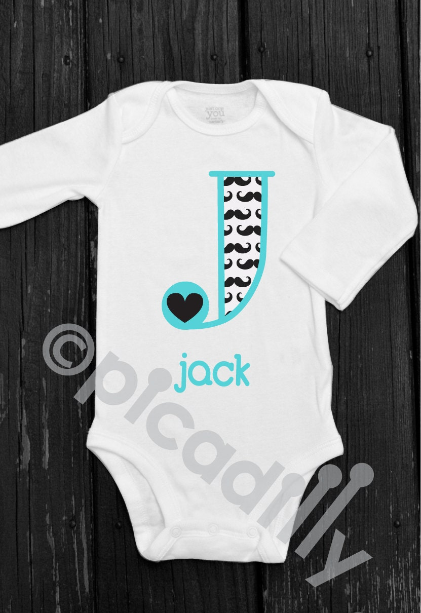 Baby boy or toddler boy mustache onesie with personalized description custom made monogram onesie including your babys negle Images