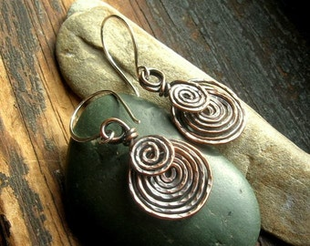 Copper  Etruscan Spiral earrings