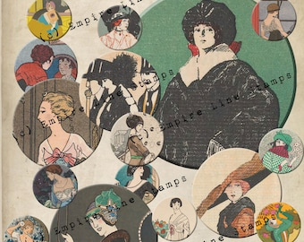 Jazz Age Flapper Women 2 inch Circles Downloadable Collage Sheet Printable Scrapbook Paper Crafts
