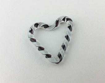 Black and white heart bead   handmade lampwork glass