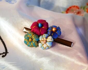 Flowers - Golden blue - Tsumami Kanzashi hair clip