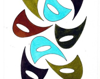 "Original Mid Century Atomic Style Ink and Watercolor Art - Boomerangs - Blue/Turquoise/Gray/Brown 6"" x 9"""
