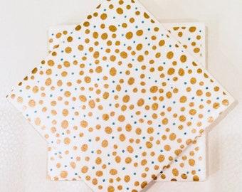 Gold Dots Tile Coasters Set of 4 or 6 (Housewarming, Wedding, Graduation, Birthday)