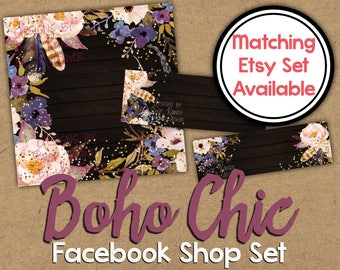 Boho Chic Facebook Shop Set - DIY Facebook Timeline - Watercolor Timeline Cover - Boho Facebook Shop Banner - Feather Facebook Shop Graphics