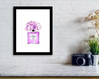 Chanel bottle & flowers poster