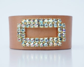 Vintage Aurora Crystal Shoe Clip (Rectangle) on Hand-Dyed Leather Cuff Bracelet  35