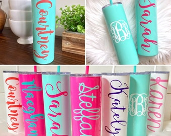 MINT Stainless Steel Tumbler with Straw, Skinny Tumblers, Personalized, Powdercoated, Teacher Appreciation, Insulated, Travel Tumbler