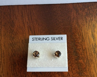 Amazing Smokey Quartz 4 mm and Sterling Silver Stud Earrings.