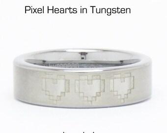 3 Pixel Hearts in Tungsten- 6 OR 8 millimeter wide**