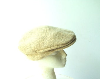 Vintage 60s, pastel beige, pure irish wool, hand made  by Millars, men's  convertible  beret- cap hat with a front brim. Size 7 3/8 .