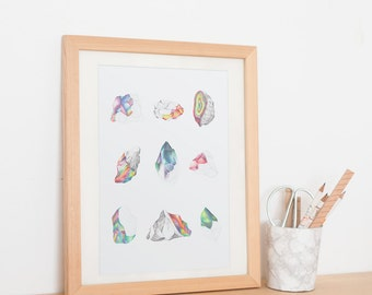 gems / crystals colored pencils illustration / A4 poster / art print / wall art
