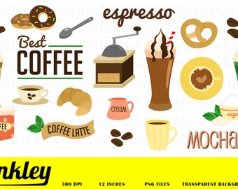 Coffee Clipart, Coffee Clip Art, Coffee Png, Cafe Clipart, Cake Clipart, Cupcake Clipart, Barista Clipart, Coffee Bean, Bread Clipart