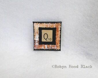 Letter Q Upcycled Scrabble Tile Magnet