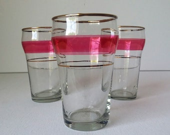 Mid Century Small Glass Tumblers Cranberry Red Band Gold Trim