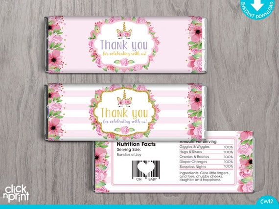 Unicorn Baby Shower Print Yourself Candy Bar Wrappers