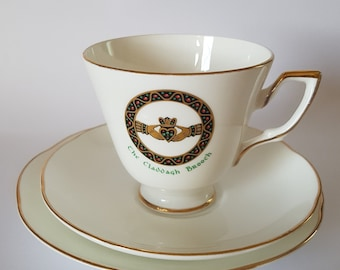 Royal Tara Claddagh Brooch Tea Cup Trio Saucer and Side Plate Tea Set For One. Made In Galway, Ireland