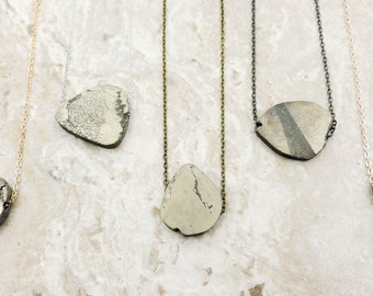Raw Pyrite Stone Necklace / Fools Gold Necklace / Pyrite Stone Necklace / Iron Pyrite Necklace / Natural Stone Necklace / Layering Necklace