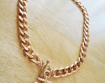 Golden Cruise Necklace with Anchor