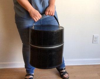 Black Patent Leather Hat Box