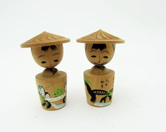 Small Pair Kokeshi dolls.Vintage Souvenir Kokeshi.Japanese Folk Art.Wooden Craft.45mm.#mk26.msjapan