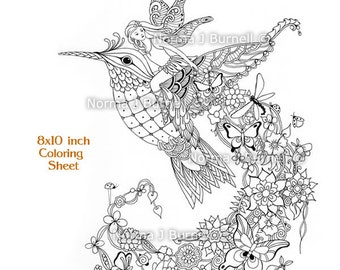 Follow Me Fairy Tangles Printable Coloring Page By Norma J Burnell Fairy  Riding Hummingbird Adult Coloring
