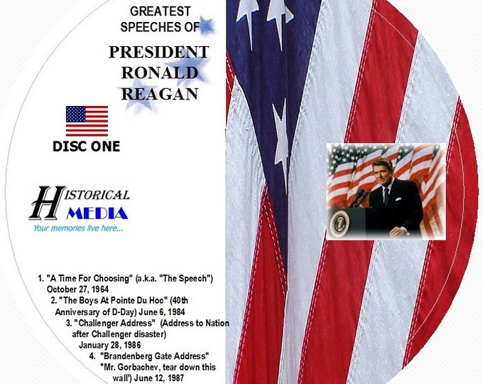 Greatest Speeches of President Ronald Reagan on 2 Audio CDs (Challenger, Berlin Wall, Etc.)
