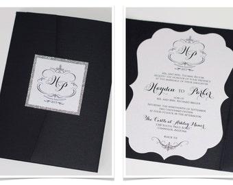 Hayden Die-cut Frame Glitter Wedding Invitation - Pocket fold - Vintage Wedding Invitation - Black, White, Silver Glitter - Sample