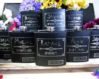 Set of 5 Personalized Steampunk Wedding Flask