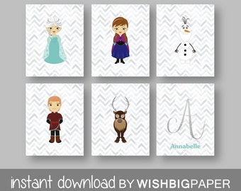 FROZEN Personalised Name Initial Wall Art Print Set Of Six 6
