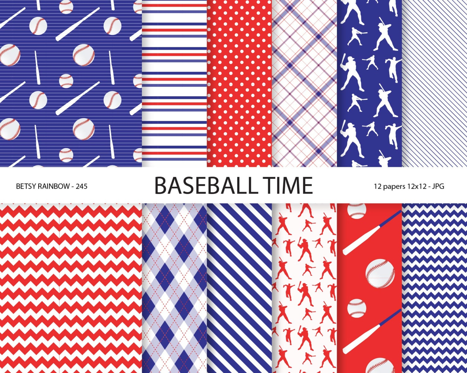 Baseball Paper Pack In Navy Blue And Red Baseball Scrapbook Paper