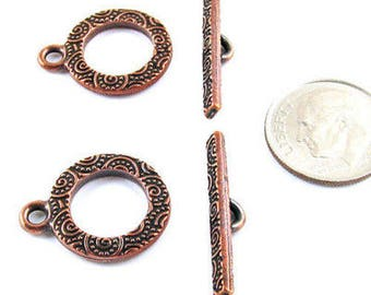 TierraCast Pewter Toggle Clasp Set-Copper Spiral Design (2 Sets)
