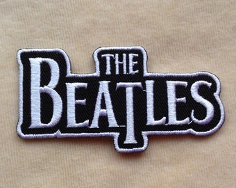 The Beatles Band Logo Iron On Patch #Black With White