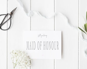 Will You Be My Maid of Honour Card, Maid of Honour Wedding Card, Maid of Honor Card, Bold Script