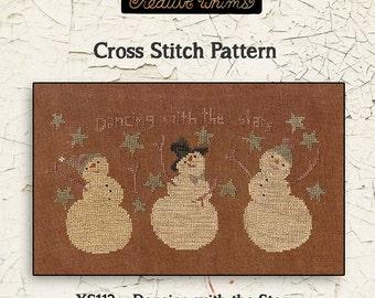 Snowmen | Primitive | Cross Stitch Chart | Downloadable PDF | EPattern | Needlework | DIY | Crafts | Dancin with the Stars | XS112