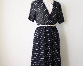 Polka dot Japanese Vintage Day dress, Black White Secretary dress, Medium 4047