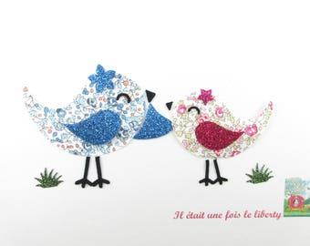 Iron on patch Appliqués fusing birds liberty and glittery fabric, fusing liberty patch iron on liberty fabrics