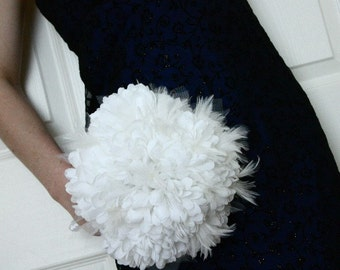 White Pouf White Feathers Wedding Bouquet from the Luxurious Elegance Collection