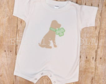 Puppy with Clover Applique St Patrick's Day Romper
