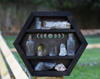 Moon Phases Hanging Hexagon Display Box