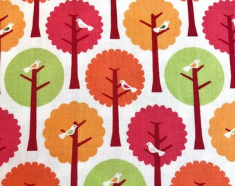 Riley Blake Summer Song Fabric by My Mind's Eye, C7052, Modern Floral Fabric, Bird Fabric, Modern Tree Fabric, Pink Quilt Fabric