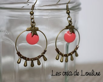 Bronze and pink coral hoop earrings