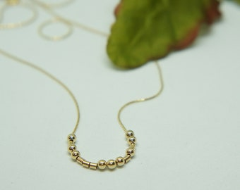 Custom Gold Necklace Personalized Necklace Morse Code Necklace Sister Gift Dainty Necklace Layered Necklace Secret Message Gift for Her