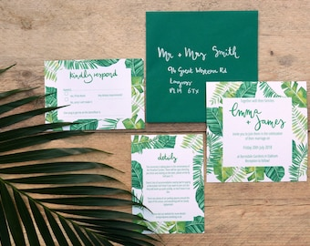 Printable Wedding Invitation // Tropical Greenery Wedding // Watercolour Jungle Wedding // Green Wedding Watercolour Invitation Set