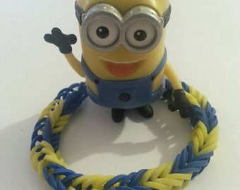 RAINBOW LOOM MINION Fishtail Rubberband Bracelet!
