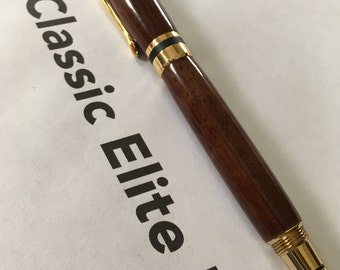 Cocobolo Classic Elite II Fountain Pen with 24k Gold and Black Fittings