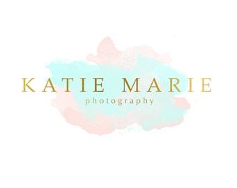 Pre-made Logo Design & Photography Watermark - Watercolor logo - Watermark design - Pre-made Blog Header - Photography Logo - Gold Logo 637