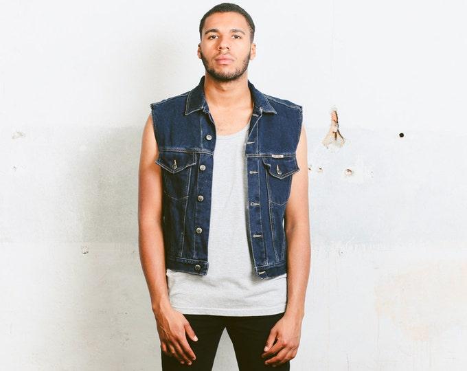 Mens Denim Vest . Fleece Lined 80s Jacket Dark Wash Sleeveless Top Unisex Jean Vest Blue Retro Vest Hipster 90s Clothing  . size Medium M
