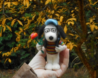 Snoopy needle felted OOAK hand made Ready to ship